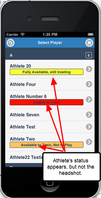 On an iPhone the athlete's status is displayed. But, due to limited space the head shot cannot be displayed.