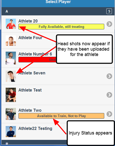 When you select an athlete on the Android or iPad applications, if the athlete has a head shot (photo) and/or injury status it will be displayed
