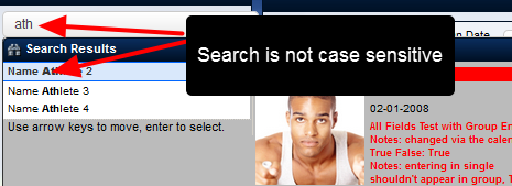 N.B. The Search Box is NOT case sensitive, and you can type in any part the athlete's name