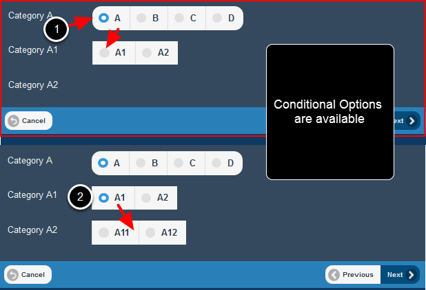 Conditionals options are available on the mobile application