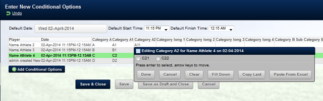 In Group entry mode, only the appropriate conditional fields appear for each athlete (as shown here)