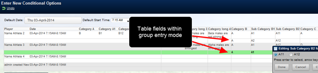 Conditional options work for table entries during group entry mode