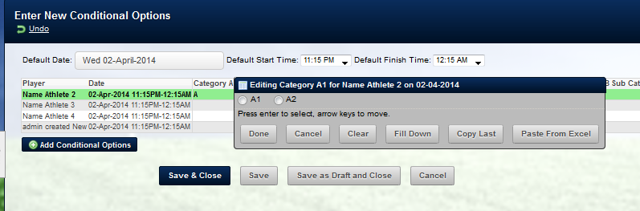 On the main application, Conditional Options work in Group Entry Mode