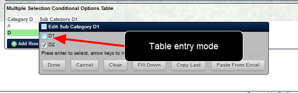 The conditional multiple selection options function in Table entry mode