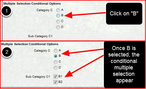 The single selection field option that is selected will limit which multiple selection options appear