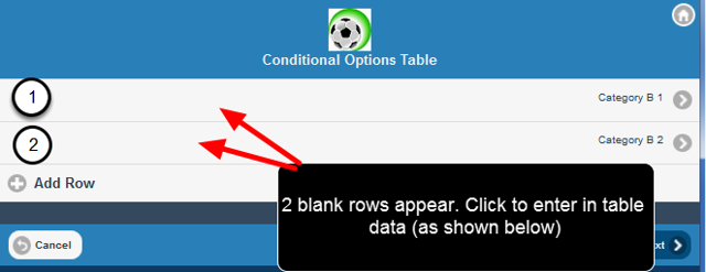 The Default number of blank Table Rows also appear in the Mobile application