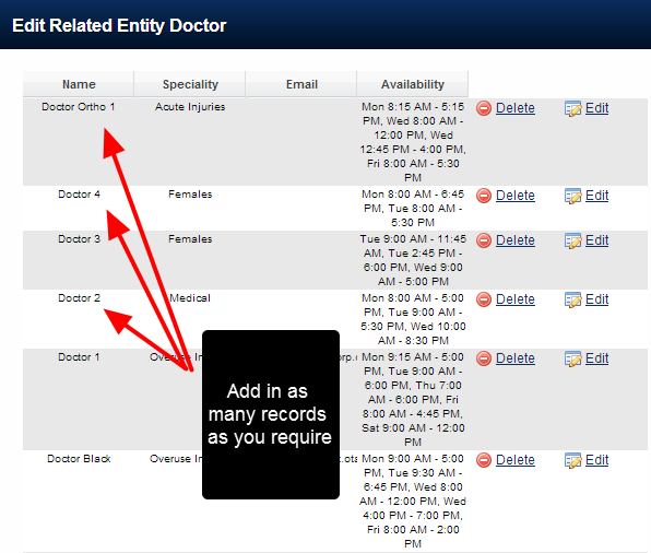 Add in as many Related Entity Records as you require