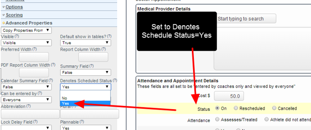 "You MUST also set the Field's Advanced Properties to ""Denotes Schedule Status""= Yes"