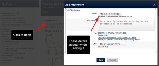 Currently, any Attachments uploaded to existing Injury Records appear with a Name, Description and File