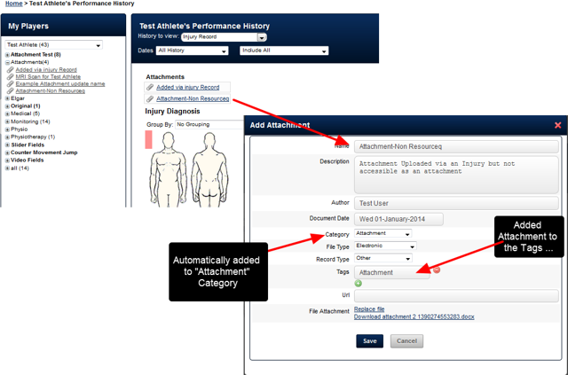 All existing Attachments still appear with the Event Form. However, when they are opened they are categorised into an Attachment Category