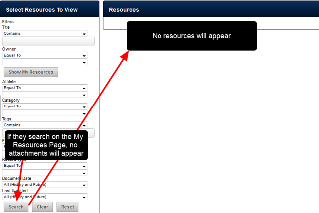 N.B. No Attachments appearing in the My Resources Module, or in the Sidebar or Athlete History for Event Forms that have attachments?
