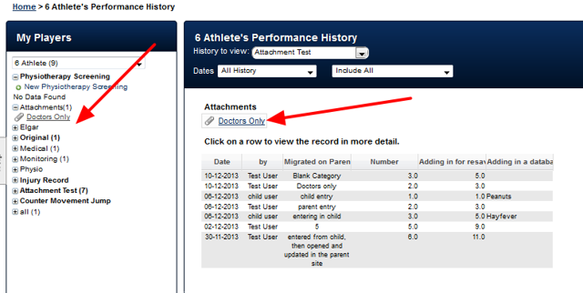 Once attached, the Attachment-Resources appear in the same places as before (In the Athlete History and in the Sidebar)