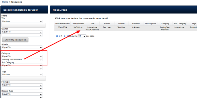 Any user with access to this Category will be able to view the appropriate Resources