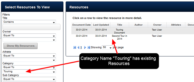 "There are existing Resources stored in a Category called ""Touring"""