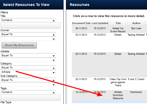 N.B. The Resource can still be accessed via the original Category (e.g. Athlete)