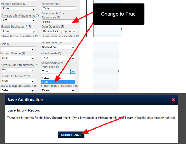 """The Attachments Are Resources field will be set to """"False"""". This needs to be changed to """"True"""". Save the Event Form"""