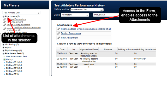 Once attached, each Attachment appears in the Sidebar, and in the Athlete's History. Anyone with access to the Event Form and the Athlete can access the Attachment