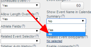 Show Event Name in Calendar Summary will be set to Yes for most Scheduling Forms