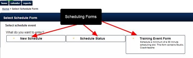 Schedule Forms appear in the Schedule Module ONLY; they are not available for entry via the Enter Data or Enter Data for Group Button