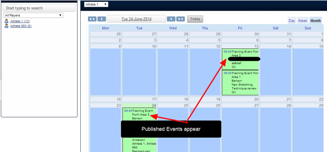 An example of the player's calendar