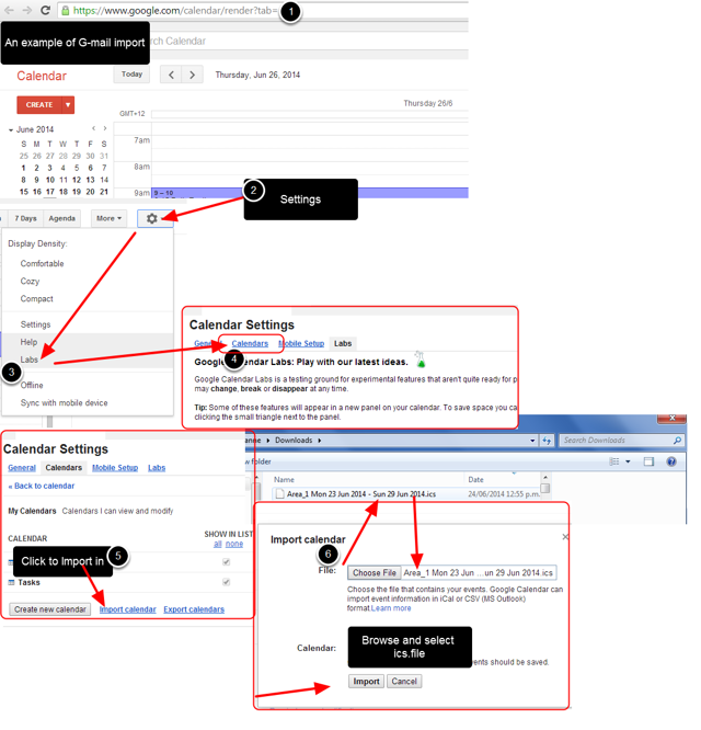 Users can then go to their respective mail accounts and import in the iCal for that period