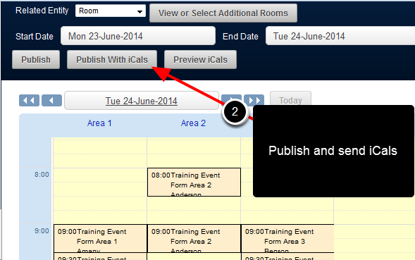 Draft Scheduled Events can also be Published and iCals can be sent to an e-mail associated with each related entity record