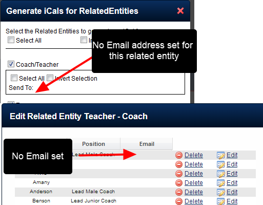 N.B If no Email addresses have been set up for a Related Entity Type, the section appears blank.
