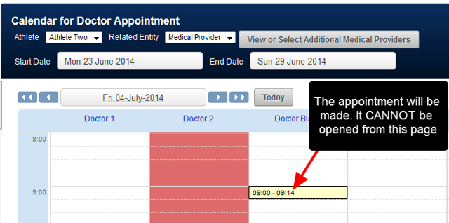 The Appointment will be made. You CANNOT open it from this page again. This Module is only for booking appointments