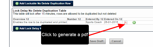If a table row is set to Print, a PDF icon appears. Click to generate a pdf of that specific table row.