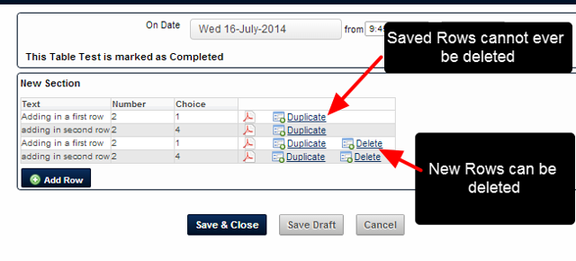 Any newly entered rows can be deleted