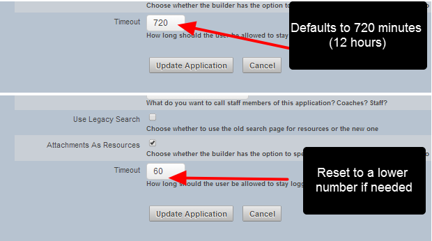 At the bottom of the Application Details there is a Timeout field. Enter in the number of minutes required
