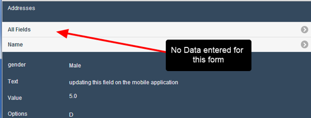 Forms with no fields showing under the Form name indicate that there is no data entered for the athlete. Click to edit the form