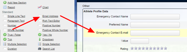 You can select to add in an Email field into a Event Form or a Profile Form.