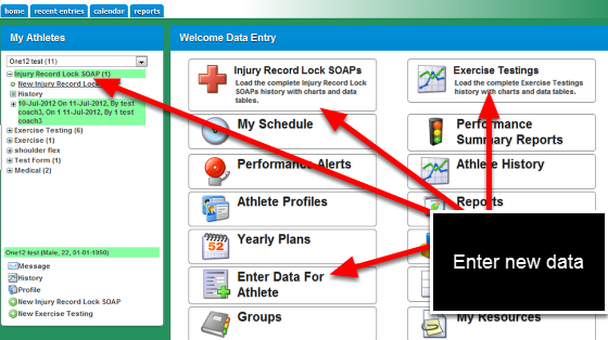 "You can enter data into the system using the Sidebar (expanding a form name and clicking on ""new entry"", using the Enter Data for Athlete Button and the Enter Data for Group Button."