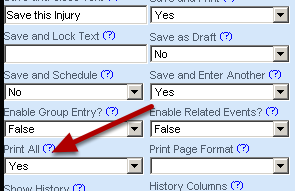 Print All allows you to specify whether any related events (linked records) that have been entered should be printed (if there are any). Linked Records are discussed in Advanced Properties: Linked Records).
