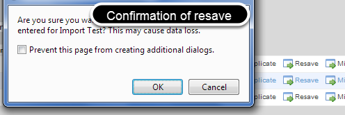 Confirm you want resave all of the data entered for that Event Form