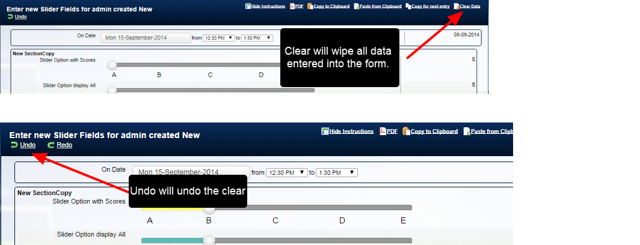 "If a user mistakenly clears the data they want, they can click ""Undo"" to reverse the clear."