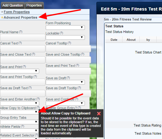 To set up an Event Form with Copy and Paste functionality, open the Form's Advanced Properties