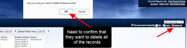 If a user clicks on Delete All, they will need to confirm that they want to delete all of these group entry records