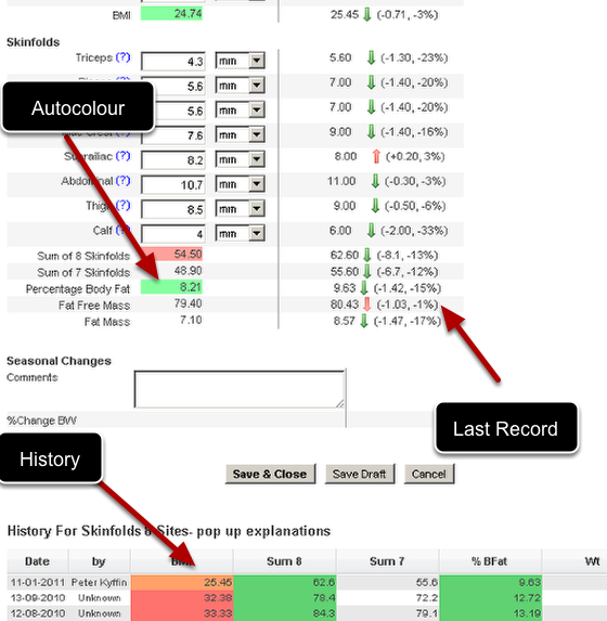 Some of the system properties enable users to have enhance data entry capabilities. They can instantly review the last record (Show Last Record), compare to a performance standard (Autocolour) and see the athlete's history (Show History) without leaving the data entry page.
