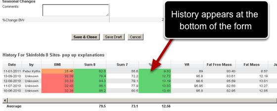 Show History: means that any history for that athlete will appear at the bottom of the data entry page (as shown here)