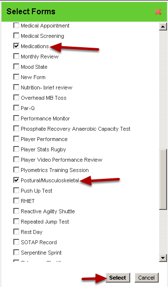 Select the Forms that you want to link to this form
