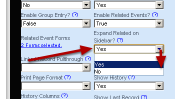 """To enable the expansion of the related events so that you can see all of the related events entered for that record, set the """"Expand Related on Sidebar"""" to Yes."""