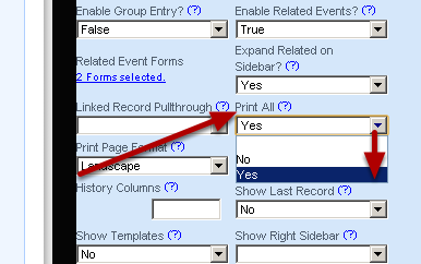 """Revisit the Save and Print Settings: do you want all of the linked records to print or only the actual record to print when """"Save and Print"""" is selected?"""