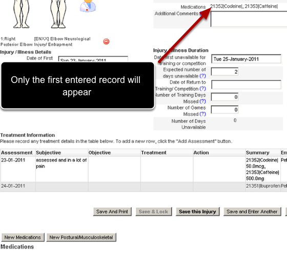 "On the application the related event that has a field ""Medications"" in it will be pulled into the form. Additional related event Medication forms can be entered, but only the data from the first related event record will appear in the form."