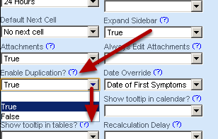 Enable duplication of a record by setting the Enable Duplication to True