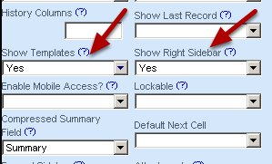 To show the Templates you must enable the Show Right Sidebar and set Show Templates to Yes on the Advanced Properties