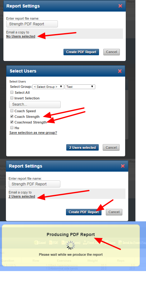 Only the strength coaches are selected to send the information to, and they user runs the report