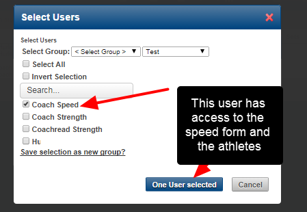 Only users with access to the Speed Form and all of the selected athletes will be able to receive the data.