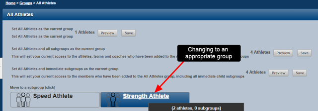 The user could deselect the athletes, or change groups to load up the group which the strength coaches have access to